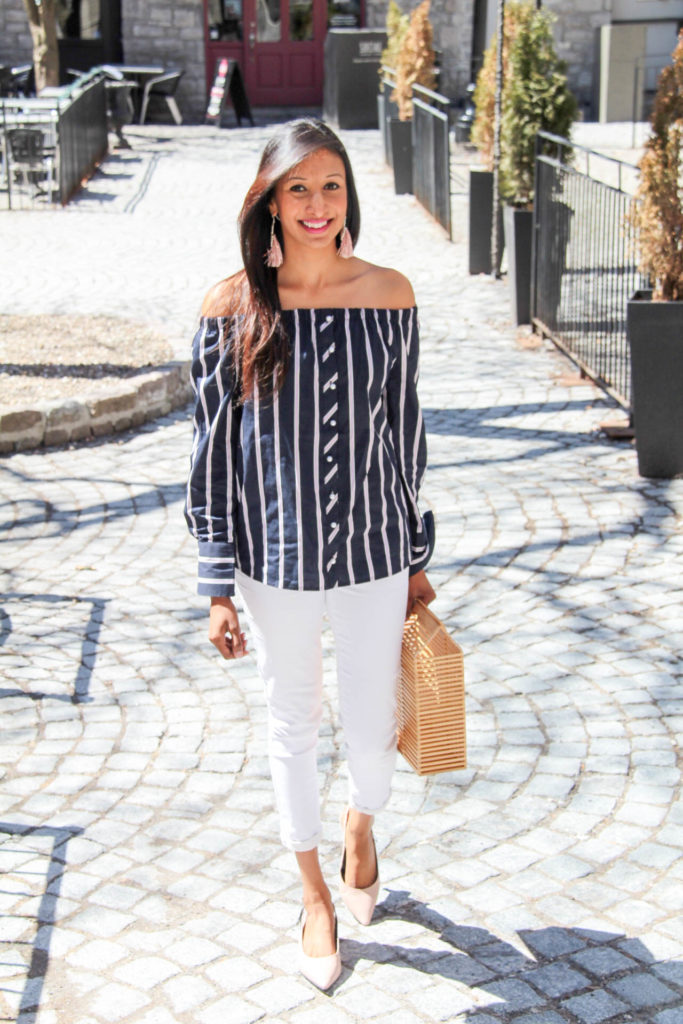 striped top weekend outfit
